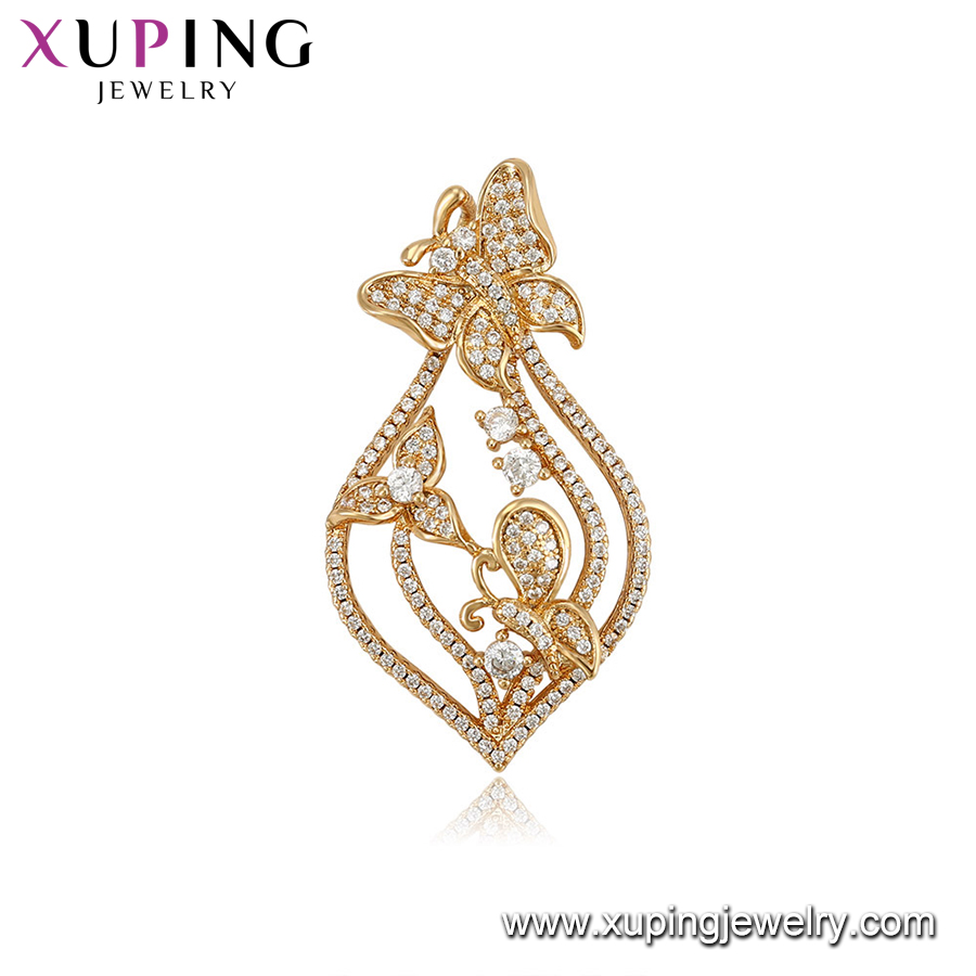 33259 Wholesale luxury jewelry butterfly micro pave crystal yellow gold pendant for ladies