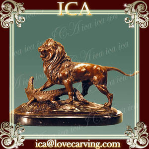 Sculpture antique brass lion brass statue,