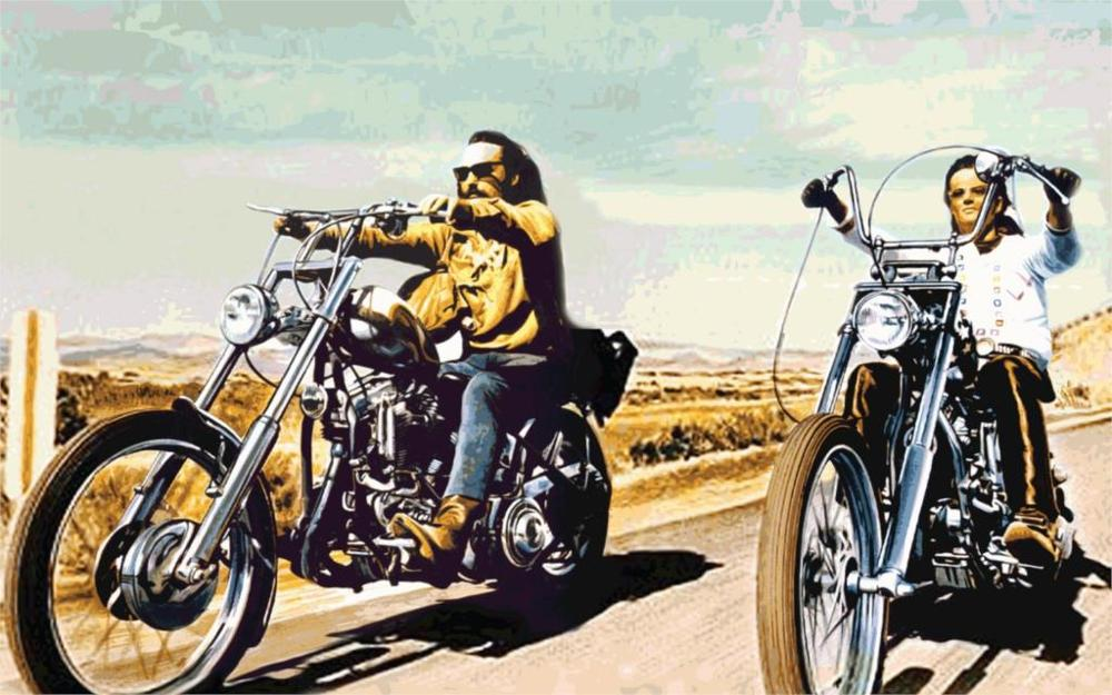Easy Rider biker cruise roads art hippy vehicles motorcycles bikes sky Home Decoration Canvas Poster