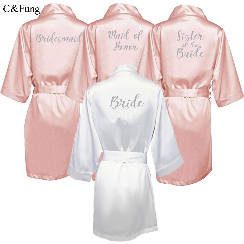 C&Fung dark pink robe silver letter kimono personalised satin pajamas wedding robe bridesmaid sister mother of the bride robes