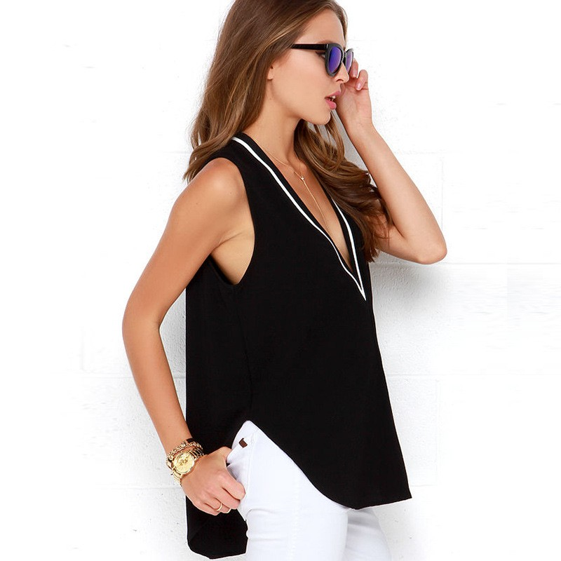 sexy deep V neck women t shirt sexy women tank top sleeveless ladies v neck vest