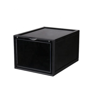 stackable magnet front open acrylic personality clear black luxury shoe display case boxes manufacturer