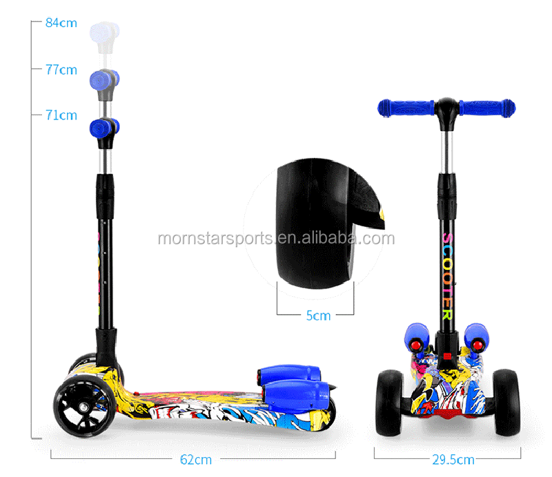 Adjustable Long Range Three Wheel Spray Jet Kick Kid Pedal Skating Scooter With Music