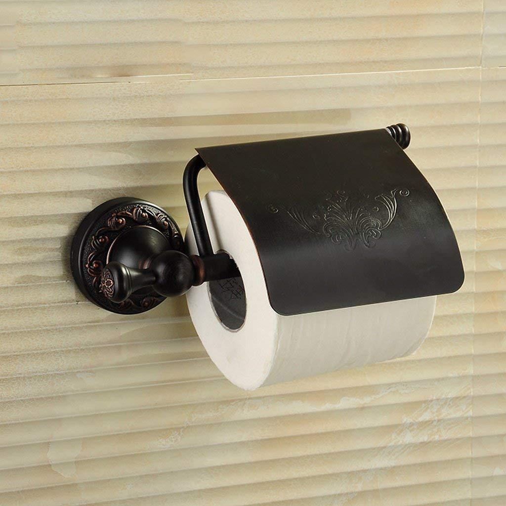 YAOHAOHAO The whole black copper antique toilet paper of TOILET TOILET toilet paper holder paper towel toilet paper in the toilet wiper-hands boxes (Color black)
