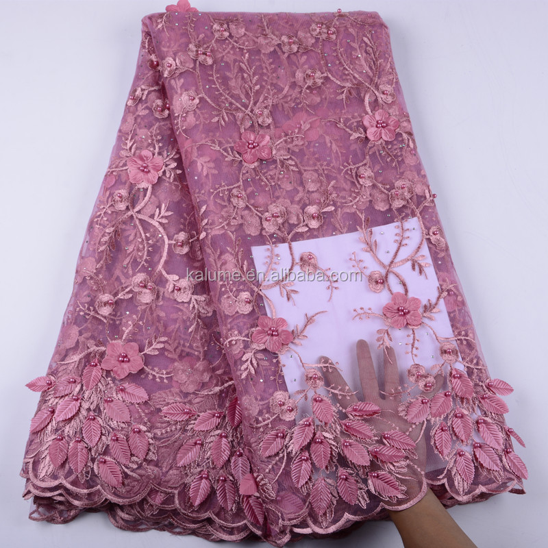 High Quality Nigerian French Lace Fabric With 3D Flowers & Stones Wholesale Price African Applique Lace With Beads 1428