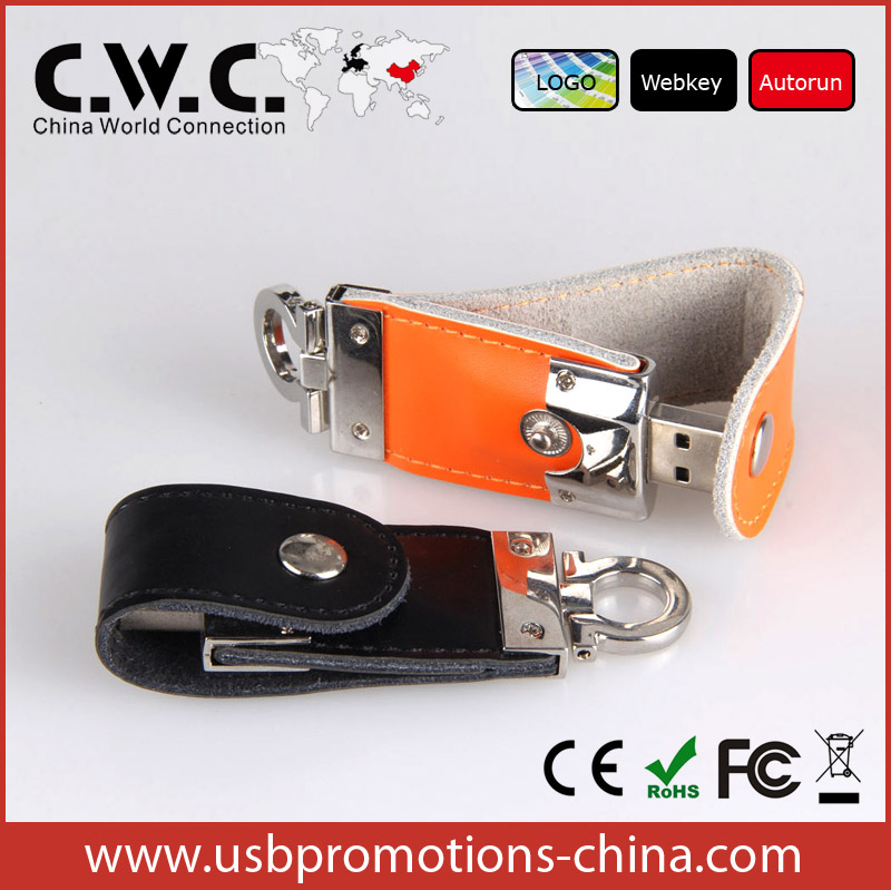 Hot sell USB with leather cover customized leather USB flash drive 2.0 64MB-16GB32GB64GB custom LOGO