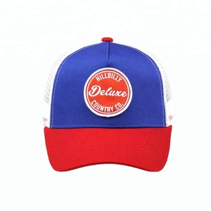 Cheap snapback red and white trucker cap hat with patch logo