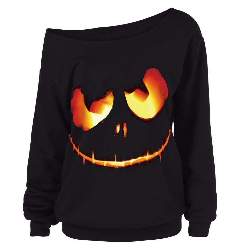 POTO Women Halloween Pumpkin Devil Sweatshirt Plus Size,Long Sleeve Off Shoulder T Shirts Pullover Tops Blouse Shirt