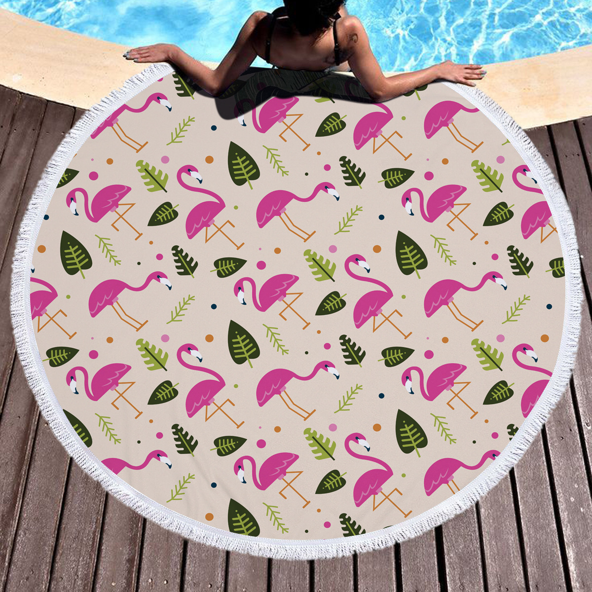 Hot selling custom your own pattern colorful round beach towels microfiber fabric gift beach towel