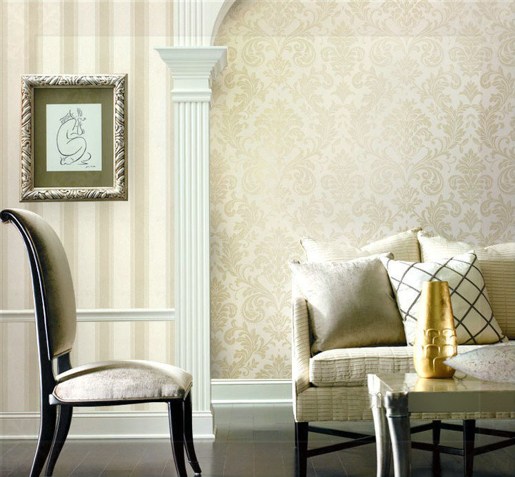 Damask Style Bedroom: Metallic Classical Style Damask Wallpaper Glitter For