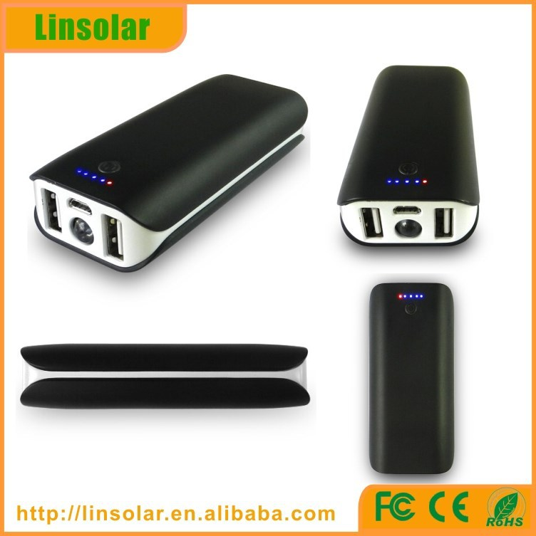 2015 private mould universal power bank, dual USB ports LED torch power bank 4400