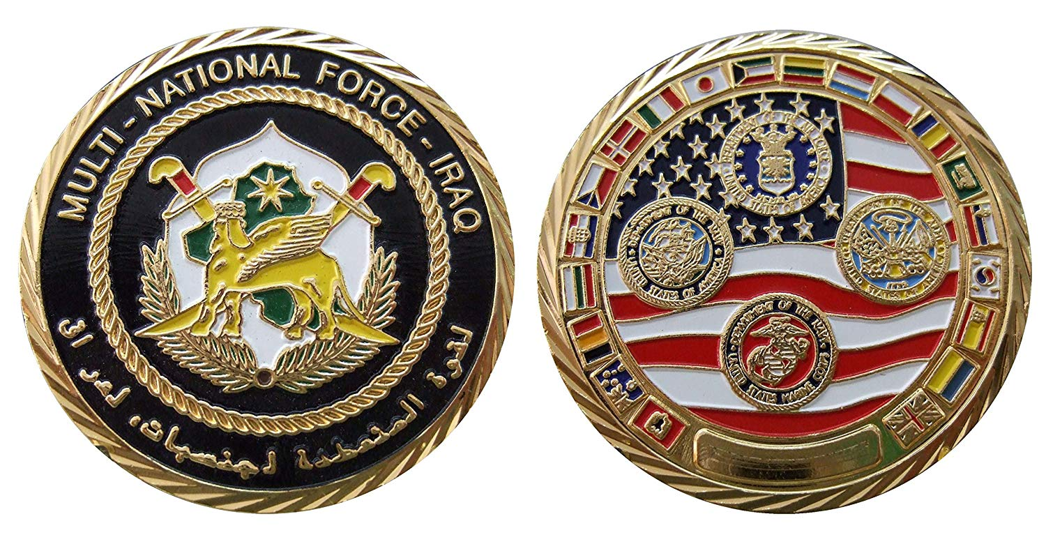 Multi National Force - Iraq Challenge Collectible Coin Logo Metal Lucky Poker Chips & Gift