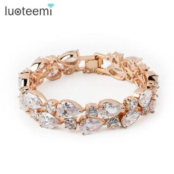 LUOTEEMI 18K Chamoange Gold Plated Diamond Bangle White AAA Zircon Diamond Mona Lisa Gold Diamond Bracelet