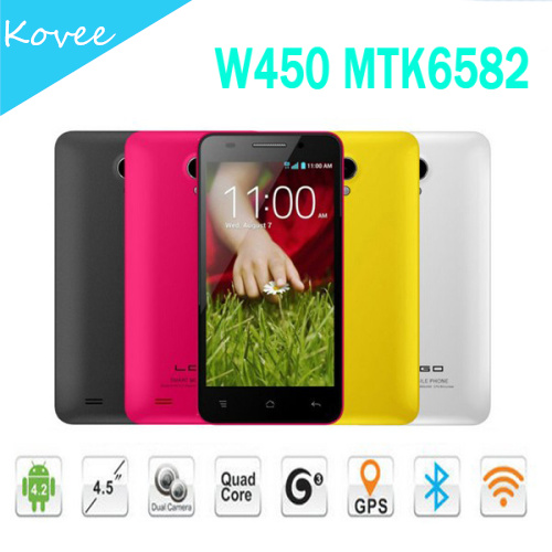 CellPhone MTK6582 4.5 inch 854x480 pixels Touch Screen Android 4.2 Quad Core New Touch Screen China Phone W450