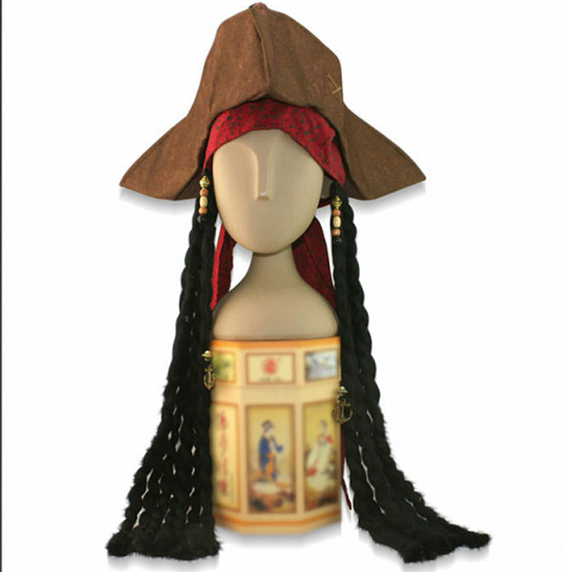Get Quotations · Free Shipping Caribbean Pirate Jack Sparrow Tricorn Hat  Wig Party Costumes Accessories Hat Adult Size Cosplay 54083cf2907a