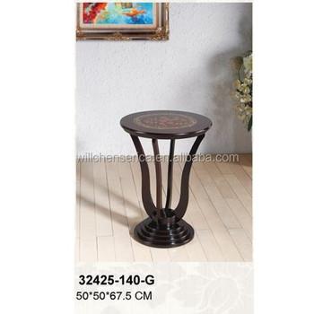 32425 140 G Wooden Round Vase Table, Flower Stand