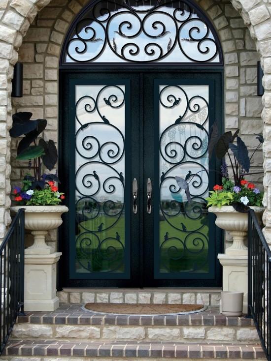 In ferro battuto esterno doppia apertura a battente metallo insonorizzate porta d 39 ingresso - Finestre insonorizzate prezzo ...