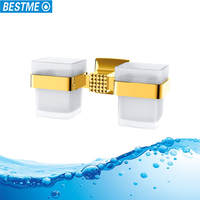 Wall mounted bathroom golden double cup & tumble holder