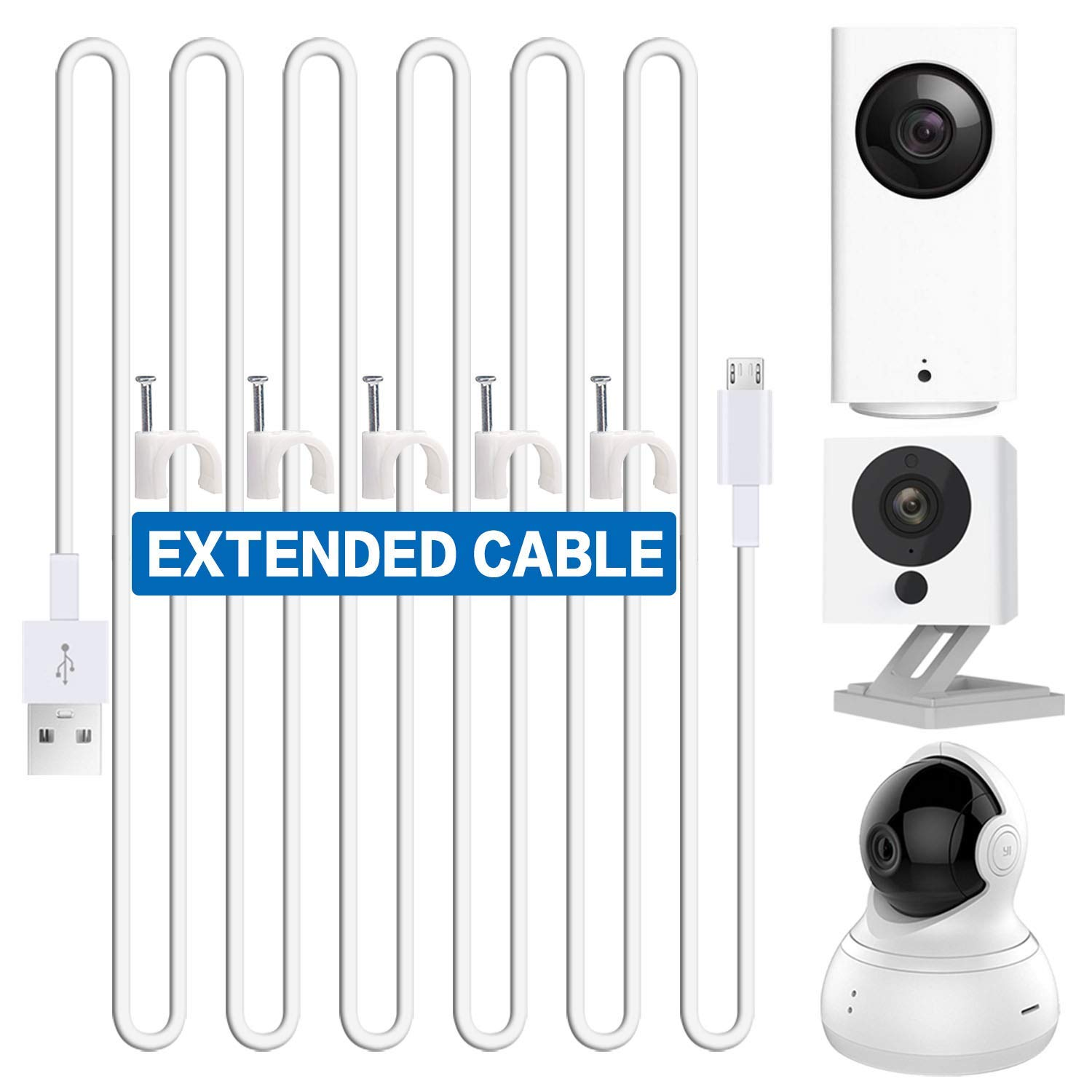 Quarble 16.4ft USB Power Extension Cable for Blink, WyzeCam, Yi Camera, Oculus Go, Echo Dot Kid Edition, Nest Cam, Netvue, Furbo Dog and Other Home Security Camera