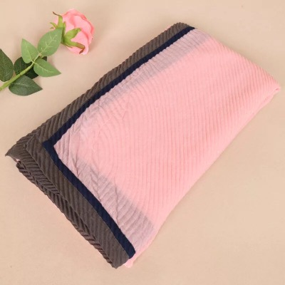 Two Tone Color Patchwork Shawl Solid Hijab Bubble Stripe Scarf High Quality Ladies Muslim Scarves