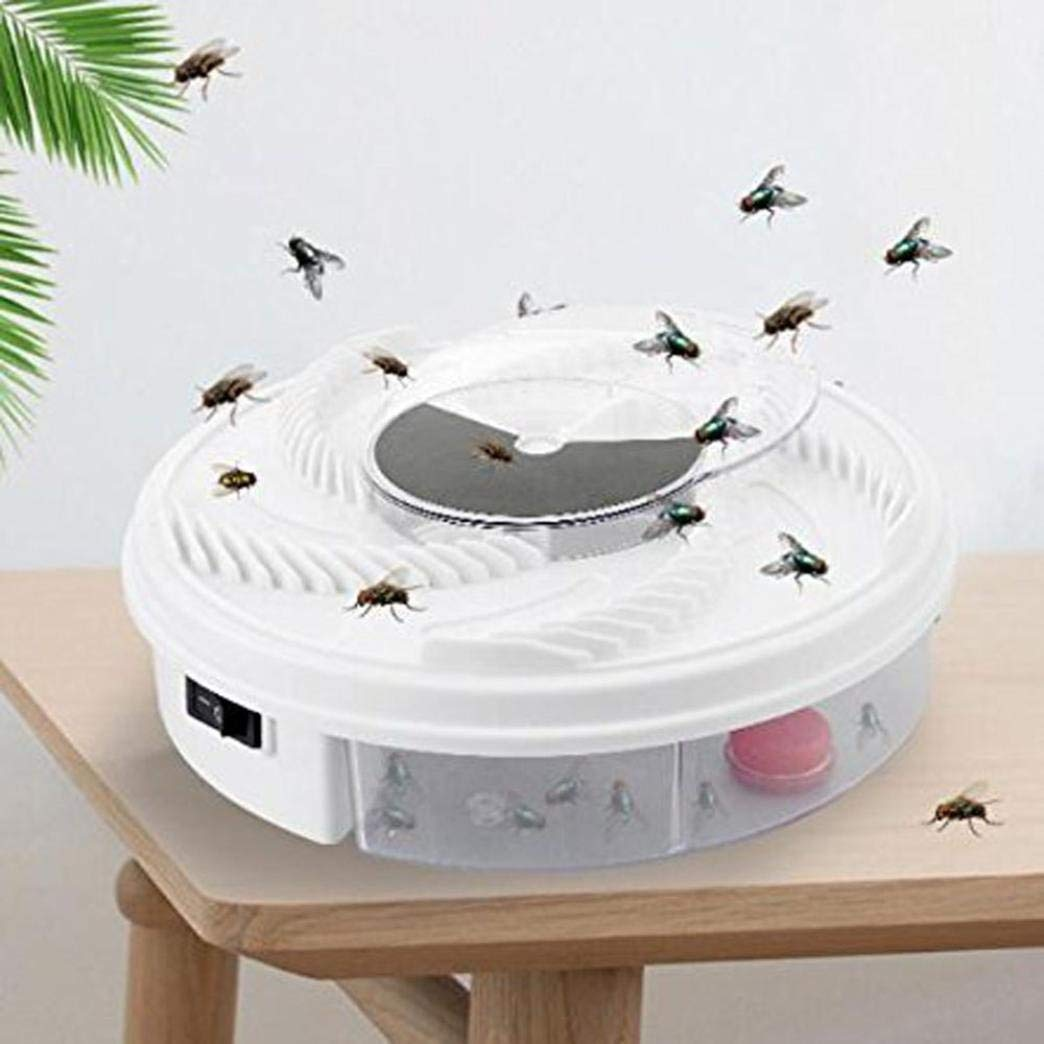 Makaor Electric Fly Trap Device with Trapping Food - White USB Cable - Killing Fruit Fly for Indoor Outdoor (White