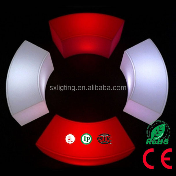 SX-12040-CBCH 16 Colors Curved LED Waterproof Bench New Design Combination LED Bench Wireless Remote