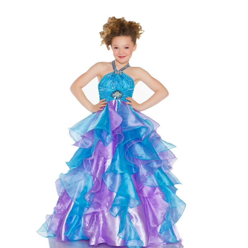 10006eeb3 Get Quotations · Little Kids Beauty Cute Ruffles Children Beaded Colorful  Ball Gowns Princess Organza Puffy Halter Cheap Girls