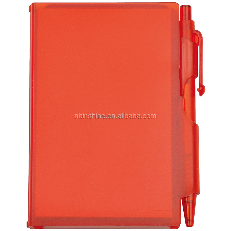 Best promotion mini custom pp cover notepad with pen , office and school supply notepad with pen in plastic box