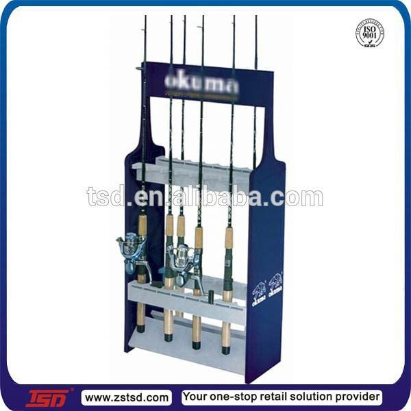 Custom Retail Store Wooden Fishing Reel Display Stand Fishing Rod