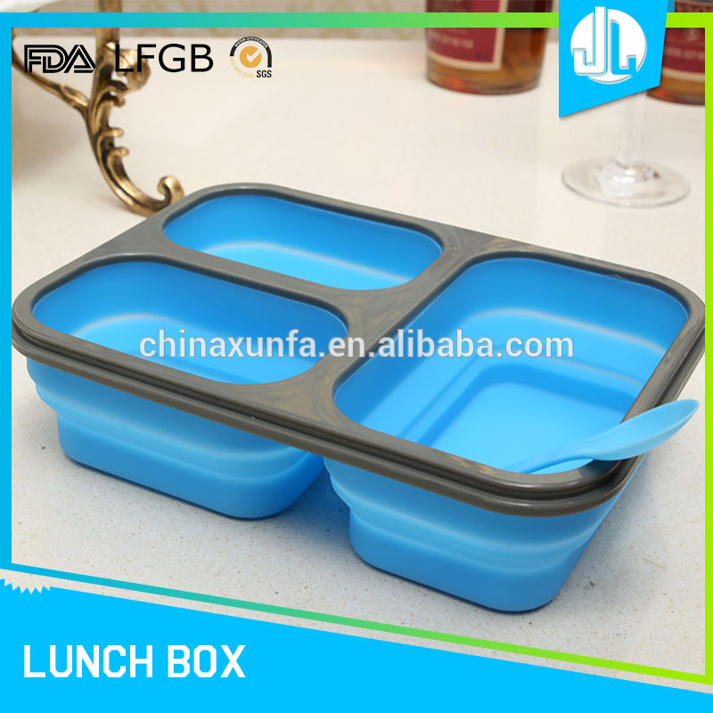 Professional company food grade silcone 3 compartment food storage box containers
