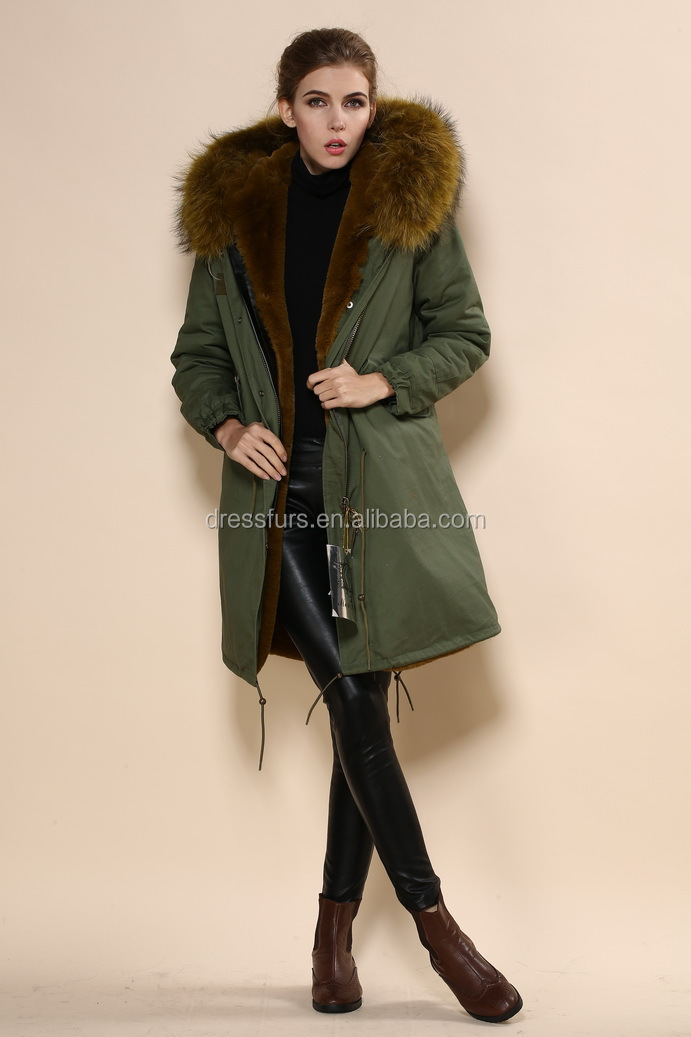 Thick Faux Fur Lined Long Length Army Design Green Womens Parka ...