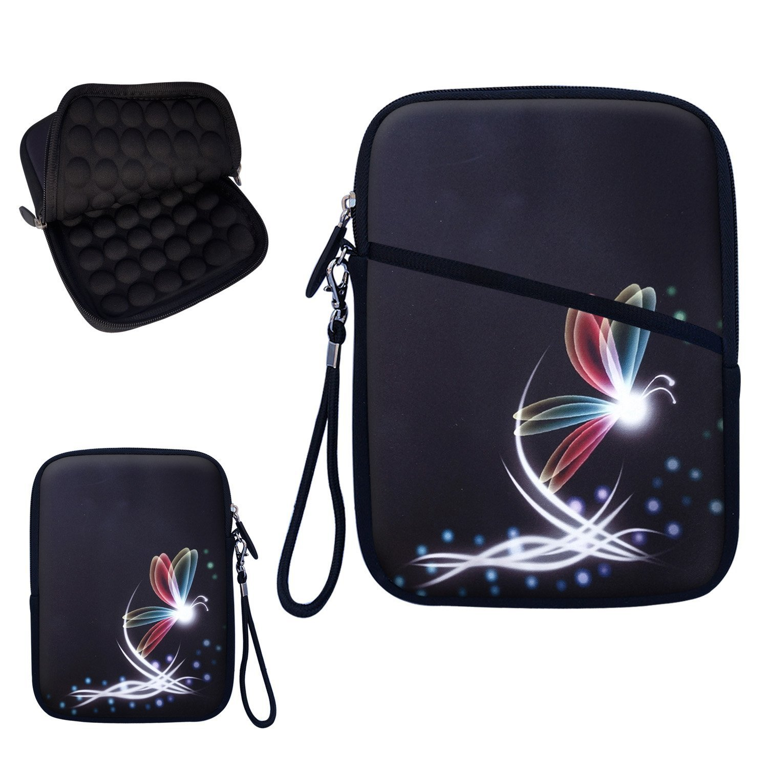 Neoprene Super Padded Bubble Sleeve Case Cover with Extra Pocket for Accessories & Removable Carrying Handle For Apple iPad Mini / Amazon Kindle Fire HD / Kindle 3 & Paperwhite / Nexus 7 / Samsung Galaxy Tab and Similar Size Tablet - Dark Butterfly Design