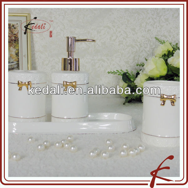 ceramic gold bath accessories with butterfly