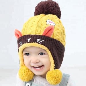 7d017134552 Winter Hat Warm Infant Beanie Cap For Children Boys Girls Animal Cat Ear  Kids Crochet Knitted