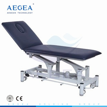 Portable two section electric medical examination table for the back