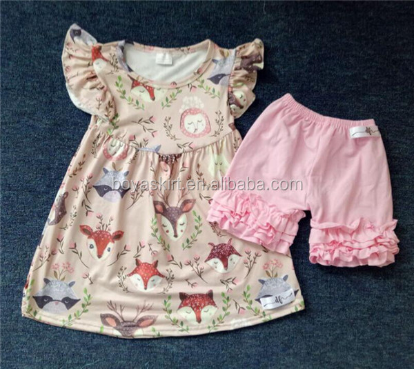 Cool childrens clothing sets short-sleeved summer baby suit woodland pearl tunic and shorts outfit for children