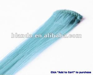 Single teal color synthetic clip in hair extension