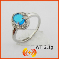 Blue And White Zircon Silver Jewelry White Gold Blue Topaz Ring