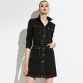 New mid-length lace-up pocket dress female