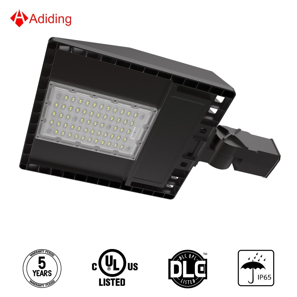 Adiding LED Street Shoebox Light with 3 Types of Mounting 100W Led Parking Lot Light Meanwell Driver 11700 Lumens, 117 Lm/W, 5700K Outdoor Street Lamp with IP65 Rated UL DLC FCC 5 Years Warranty