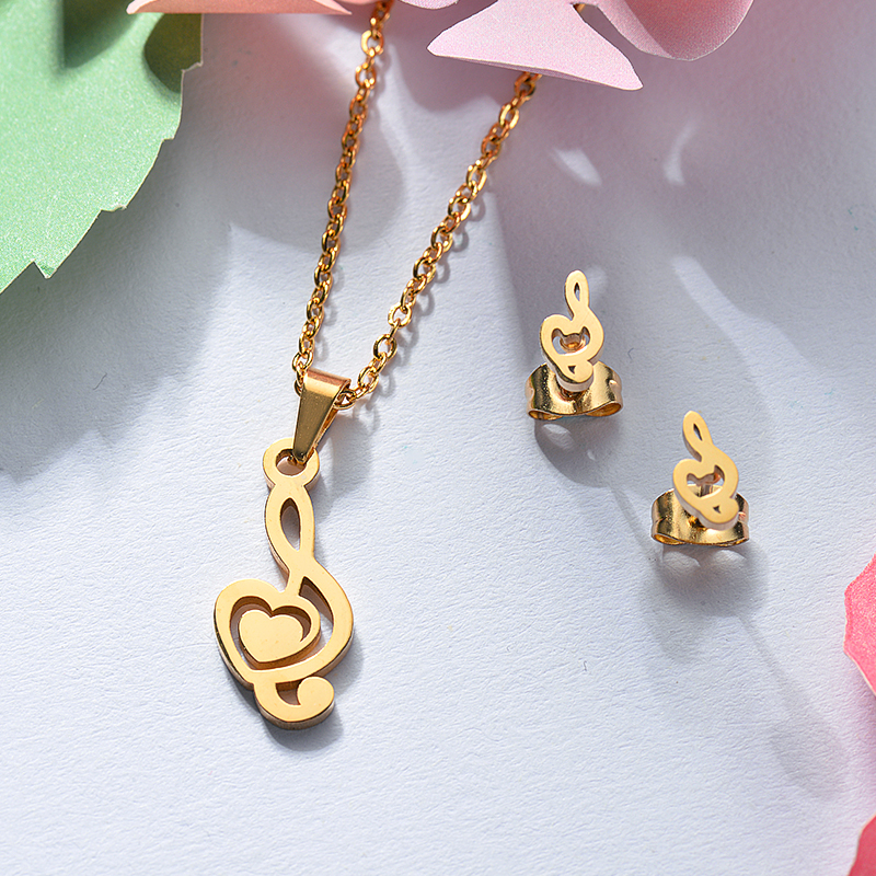 Baoyan Wholesale 14k Gold Plated Music Note Necklace Set ...