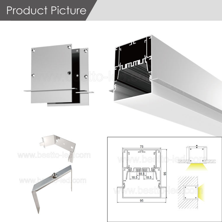 Hot sell W95H75mm recessed DIY led linear flood lighting housing system matching with zhaga standard LED strip light
