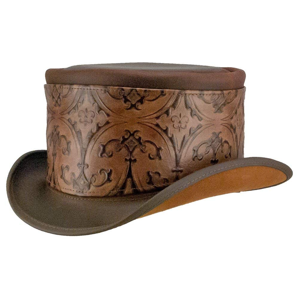 eba860bac6dcf Get Quotations · American Hat Makers El Dorado-Brown Heraldic Hat Wrap by  Steampunk Hatter Leather Top Hat