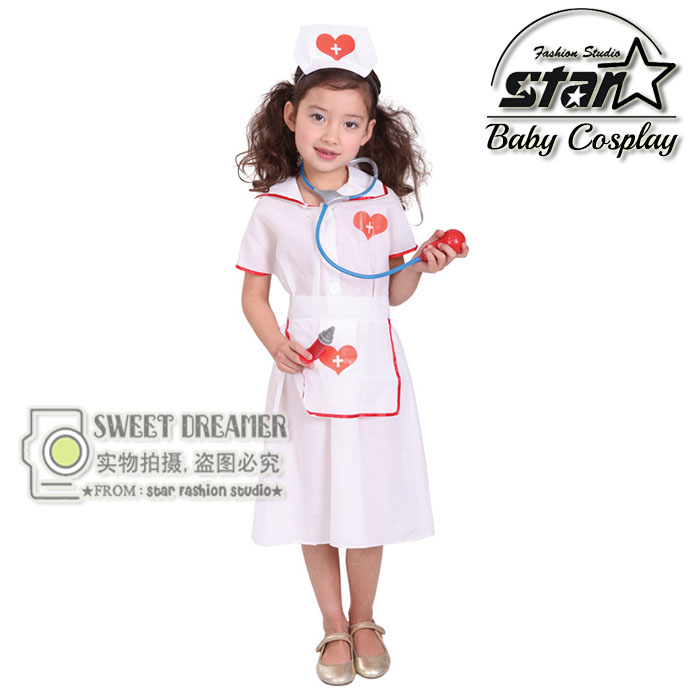Nurse Costume Fantasia font b Children s b font Halloween Little Nurse font b Dress b