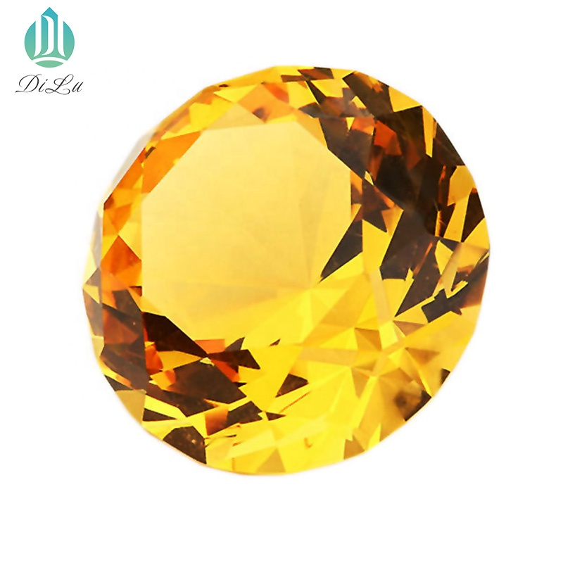 Decorative Beautiful Shining gold 60mm 80mm 100mm DILU Large GOLD yellow Crystal Glass Stone Diamond for Wedding GIFT