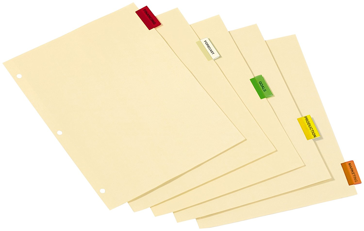 TOPS Cardinal Insertable Index Paper Dividers, 5-Tab, Multi-Colored, (61538)