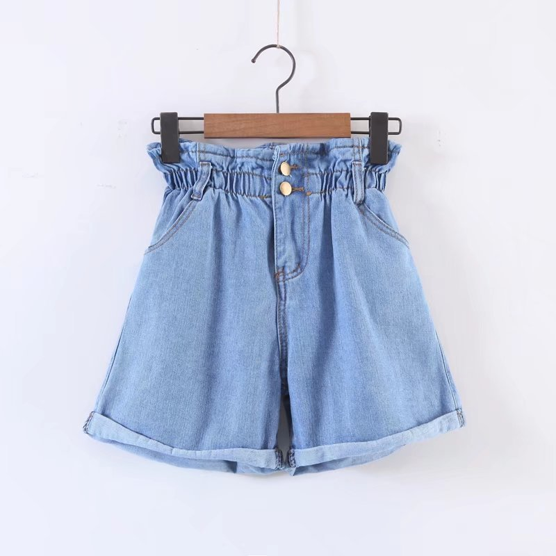 Fashion Ruffle Elastic Waisted Denim jeans raw materia Shorts For hang tag
