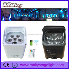 Led mini party light 6in1 rgbwa uv battery powered wireless dmx light 6*18w led light wall night club