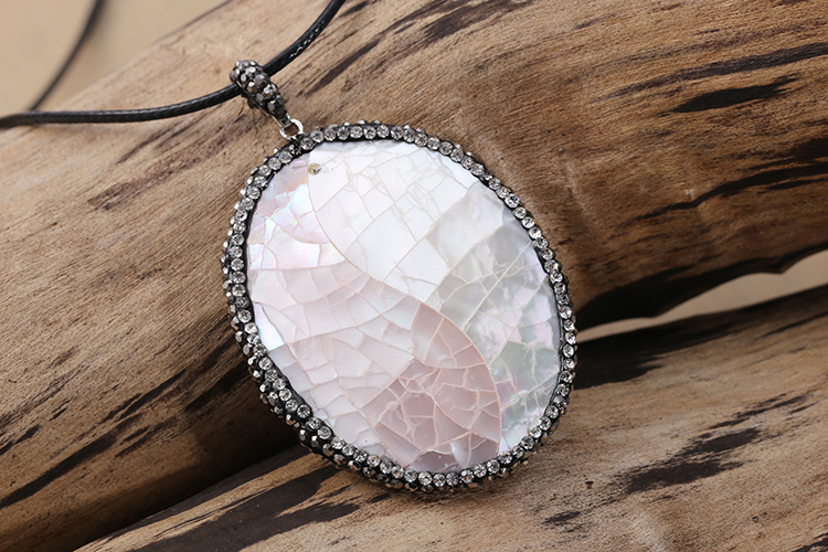 N0552-TLGH new design long pendant necklace jewelry made with shell and CZ diamond sale in 3pcs MOQ