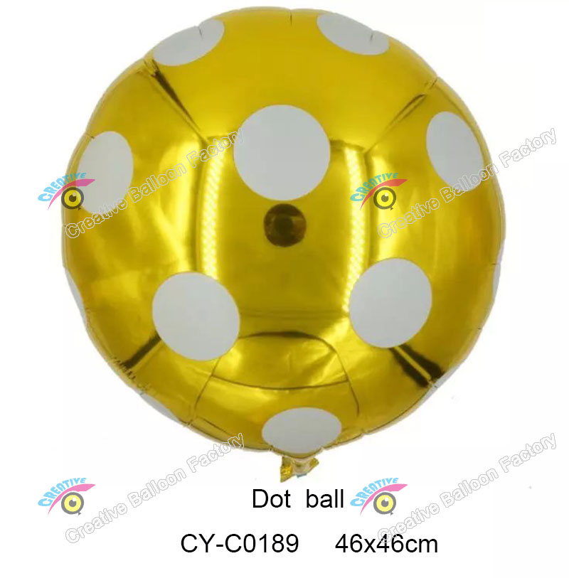 different color 18'' dot balloon foil balloon round shape alu,inum foil balloon